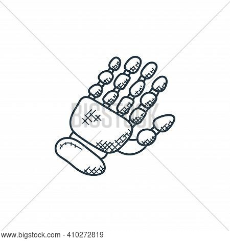 robotic hand icon isolated on white background from technology collection. robotic hand icon thin li