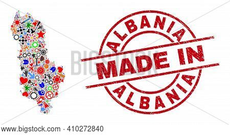 Education Albania Map Mosaic And Made In Grunge Rubber Stamp. Albania Map Composition Formed From Sp