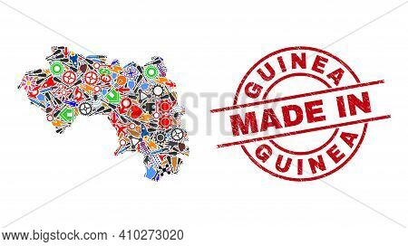 Technical Republic Of Guinea Map Mosaic And Made In Textured Stamp. Republic Of Guinea Map Collage D