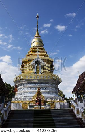 Beautiful Chedi Pagoda Stupa Of Wat Phra That Doi Saket Temple For Thai People And Foreign Travelers