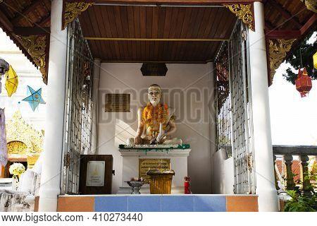 Jivaka Komarabhacca Or Kumarabhrta Buddhism Doctor Statue Of Wat Phra That Doi Saket Temple For Thai