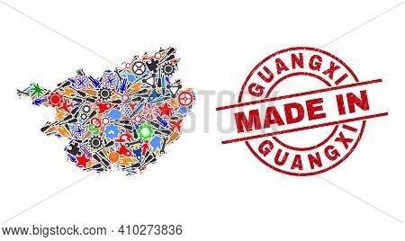 Development Guangxi Province Map Mosaic And Made In Textured Rubber Stamp. Guangxi Province Map Mosa
