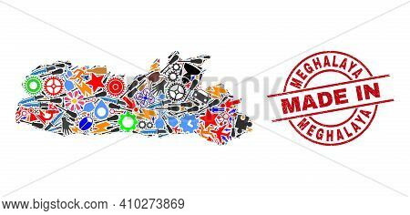Science Meghalaya State Map Mosaic And Made In Distress Watermark. Meghalaya State Map Mosaic Compos