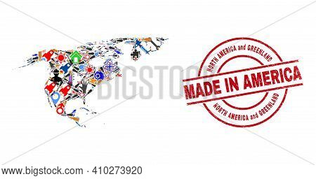 Industrial Mosaic North America And Greenland Map And Made In Scratched Stamp Seal. North America An