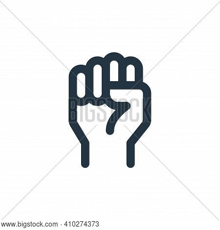raise hand icon isolated on white background from labour day collection. raise hand icon thin line o