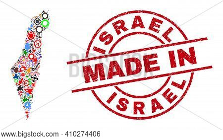 Service Mosaic Israel Map And Made In Distress Stamp. Israel Map Mosaic Designed With Spanners, Gear