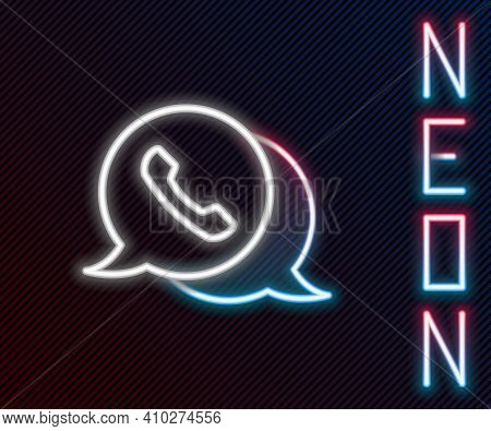 Glowing Neon Line Telephone With Speech Bubble Chat Icon Isolated On Black Background. Support Custo