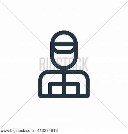 racer icon isolated on white background from auto racing collection. racer icon thin line outline li