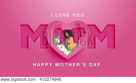 Beautiful African American Woman With Lovely Hairstyle. Happy Mothers Day Poster Or Banner With Moth