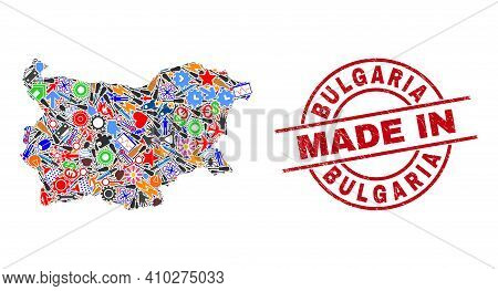 Industrial Bulgaria Map Mosaic And Made In Grunge Stamp Seal. Bulgaria Map Collage Composed With Spa