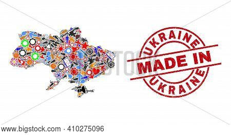 Production Mosaic Ukraine Map And Made In Distress Rubber Stamp. Ukraine Map Collage Created From Wr