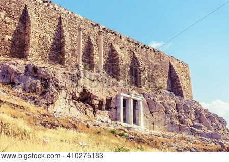 Acropolis Of Athens, Greece. It Is Famous Monument, Top Landmark Of Athens. View Of Strong Fortress