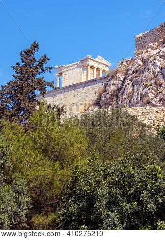 Athena Nike Temple On Acropolis Of Athens, Greece. It Is Landmark Of Athens. Scenic View Of Classica
