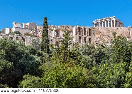 Acropolis Of Athens, Greece. Scenic View Of Herodes Odeon And Parthenon Temple. This Place Is Top La
