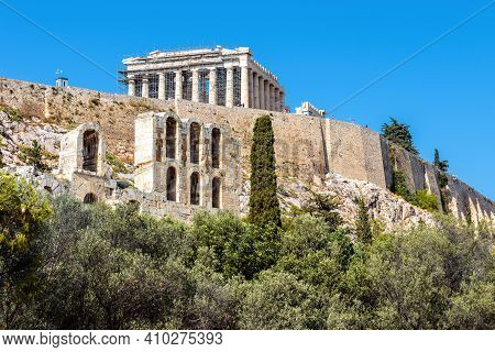 Acropolis Of Athens, Greece. Famous Parthenon Temple On Its Top. This Place Is Landmark Of Athens. A