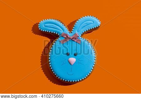 Cute Easter Bakery. Traditional Festive Pastry. Abstract Background. Pretty Gingerbread With Blue Ic