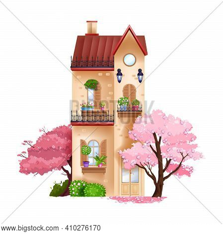 Vintage Vector House, Spring Building Facade Exterior Illustration With Window, Balcony, Red Roof, B
