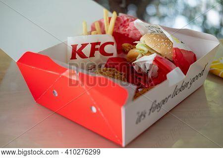 Bangkok, Thailand - February 28, 2021 : Kfc Box Set, Kentucky Fried Chicken Combo Sets Delivered To