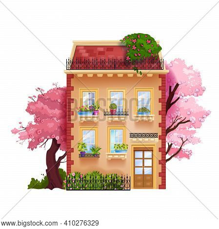 Vintage Old House Facade, Vector Toy Building Exterior Illustration With Windows, Trees, Entrance, R