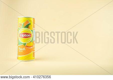 Bangkok, Thailand - February 28, 2021 : Two Aluminium Can Of Lipton Ice Tea Product With Peach Flavo