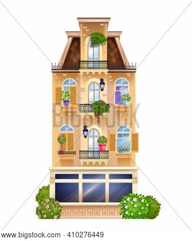 Vintage Building Facade, Vector European House Front View Illustration With Windows, House Plants, R