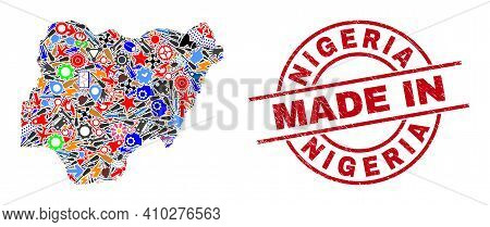 Industrial Nigeria Map Mosaic And Made In Scratched Stamp Seal. Nigeria Map Mosaic Designed From Wre
