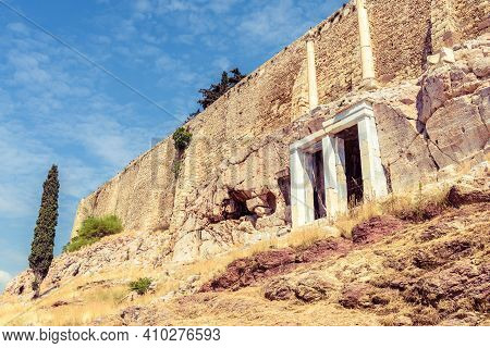 Acropolis Of Athens, Greece. It Is Top Landmark Of Athens. View Of Strong Fortress Walls Of Acropoli