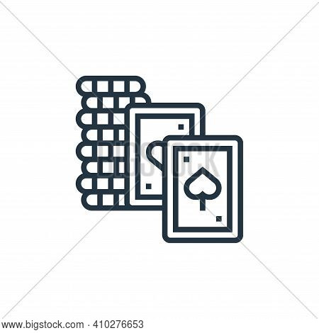 poker cards icon isolated on white background from casino collection. poker cards icon thin line out