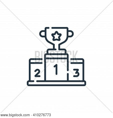 podium icon isolated on white background from auto racing collection. podium icon thin line outline
