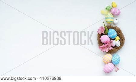 Easter Background. Holiday Composition. Invitation Card. Pastel Colorful Painted Eggs With Tradition