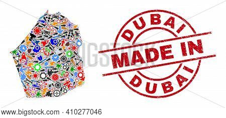 Education Dubai Emirate Map Mosaic And Made In Distress Rubber Stamp. Dubai Emirate Map Collage Crea