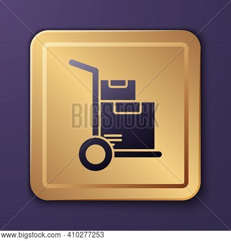 Purple Hand Truck And Boxes Icon Isolated On Purple Background. Dolly Symbol. Gold Square Button. Ve