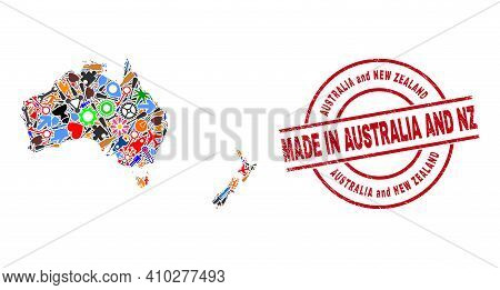 Education Australia And New Zealand Map Mosaic And Made In Grunge Rubber Stamp. Australia And New Ze