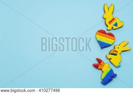 Lgbt Banner. Gay Pride. Solidarity Tolerance. Bakery Food Decoration. Colorful Yellow Gingerbread Bu