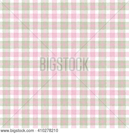 Green Olive Pink Vintage Checkered Background With Blur, Gradient And Grunge Texture. Classic Checke