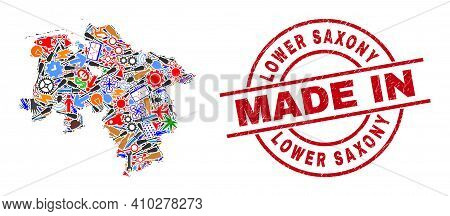 Technical Lower Saxony Land Map Mosaic And Made In Distress Seal. Lower Saxony Land Map Mosaic Compo