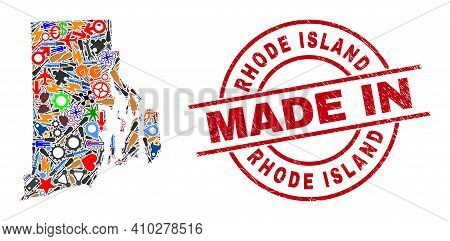Production Mosaic Rhode Island State Map And Made In Textured Stamp Seal. Rhode Island State Map Abs