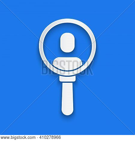 Paper Cut Magnifying Glass For Search A People Icon Isolated On Blue Background. Recruitment Or Sele