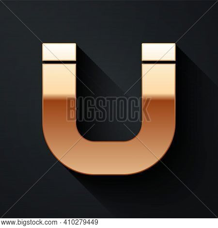Gold Magnet Icon Isolated On Black Background. Horseshoe Magnet, Magnetism, Magnetize, Attraction. L
