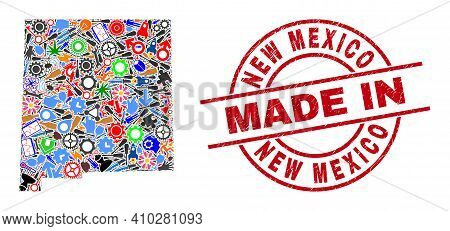 Science New Mexico State Map Mosaic And Made In Distress Stamp Seal. New Mexico State Map Mosaic Des