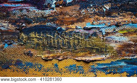 Hand drawn with oil paint abstract background. Blue, beige, yellow, brown colors
