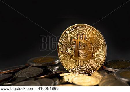 Cryptocurrency Golden Bitcoin Coin On Thai Bath Coin, Electronic Virtual Money For Web Banking And I