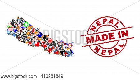 Component Mosaic Nepal Map And Made In Scratched Stamp. Nepal Map Mosaic Created With Spanners, Gear