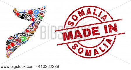 Component Mosaic Somalia Map And Made In Scratched Stamp Seal. Somalia Map Collage Composed With Spa