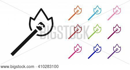 Black Burning Match With Fire Icon Isolated On White Background. Match With Fire. Matches Sign. Set