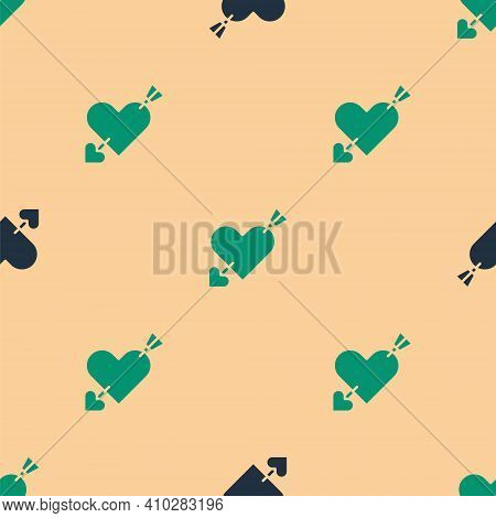 Green And Black Amour Symbol With Heart And Arrow Icon Isolated Seamless Pattern On Beige Background