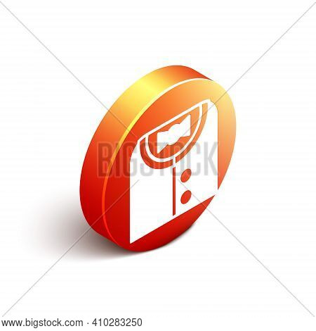 Isometric Suit Icon Isolated On White Background. Tuxedo. Wedding Suits With Necktie. Orange Circle