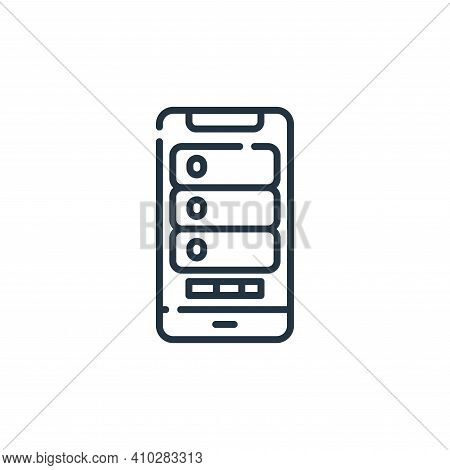 mobile icon isolated on white background from database and servers collection. mobile icon thin line