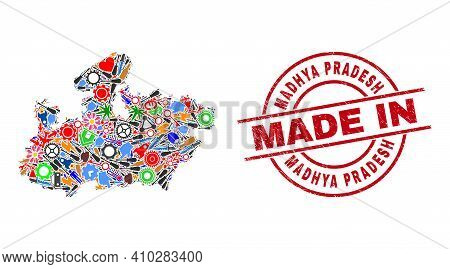Engineering Madhya Pradesh State Map Mosaic And Made In Scratched Stamp Seal. Madhya Pradesh State M