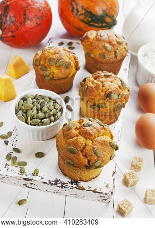 Pumpkin Muffins On The Table